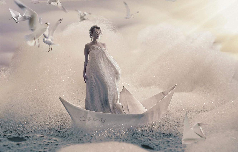 Фото обои пена, девушка, птицы, креатив, чайки, бумажные кораблики