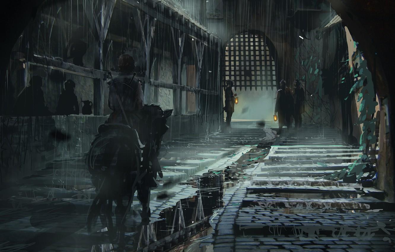 Фото обои свет, оружие, люди, улица, лошадь, меч, решетка, арт, фонари, всадник, ливень