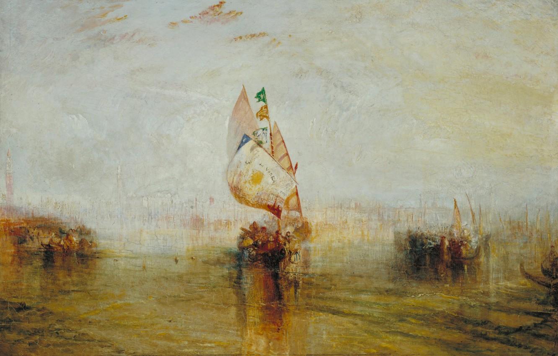 Фото обои лодка, картина, акварель, парус, морской пейзаж, Уильям Тёрнер, The Sun of Venice Going to Sea