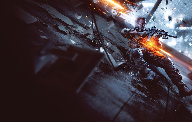 Фото обои Огни, Свет, Перчатки, Солдат, Оружие, Военный, Electronic Arts, DICE, Экипировка, Battlefield 4, EA Digital Illusions …
