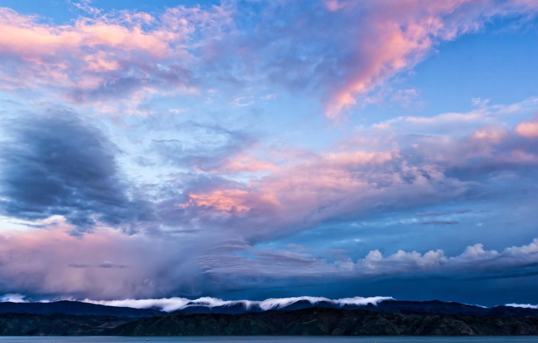 Фото обои небо, облака, горы, пролив, голубое, вечер, Новая Зеландия, sky, New Zealand, blue, mountains, clouds, evening, …