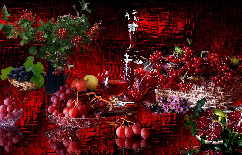 Фото обои ягоды, вино, виноград, натюрморт, Гранат, калина