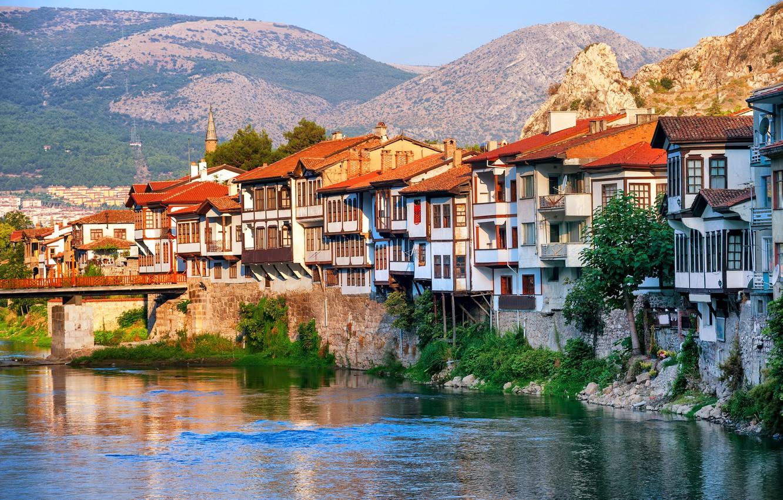 Фото обои пейзаж, горы, мост, река, скалы, дома, солнечно, Турция, Amasya, Central Anatolia