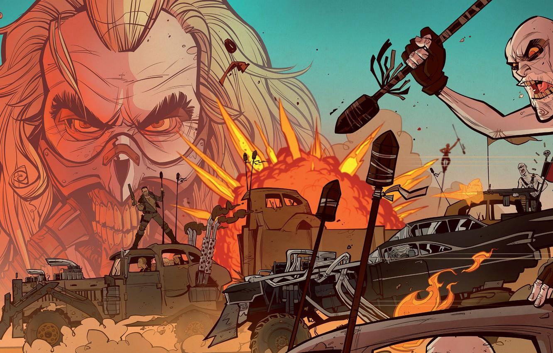 Фото обои car, авто, взрыв, оружие, огонь, fire, нагнетатель, auto, art, Mad Max, Fury Road, Безумный Макс: …