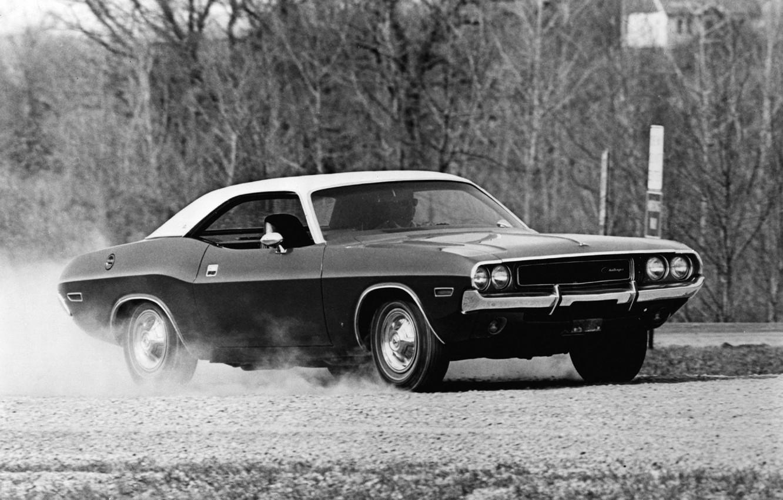 Фото обои машина, авто, фото, фон, обои, чёрно-белое, Dodge, Challenger