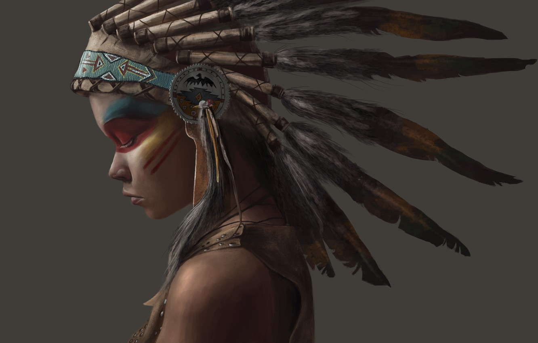 Фото обои девушка, стиль, перья, индеец, indian, индианка