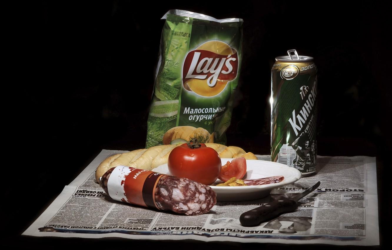 Фото обои еда, пиво, нож, натюрморт, помидор