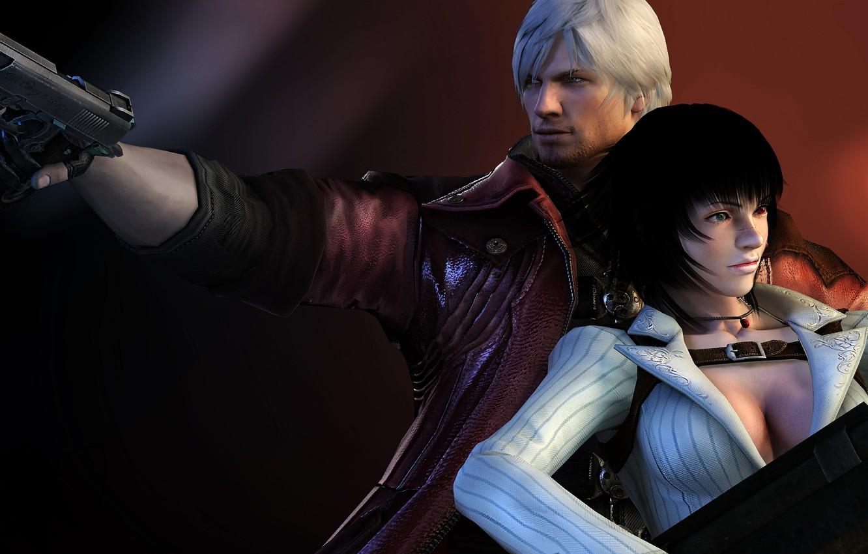 Фото обои пистолет, пара, Леди, охотник, Dante, красный плащ, Данте, DMC 4, Devil may cry 4, game …