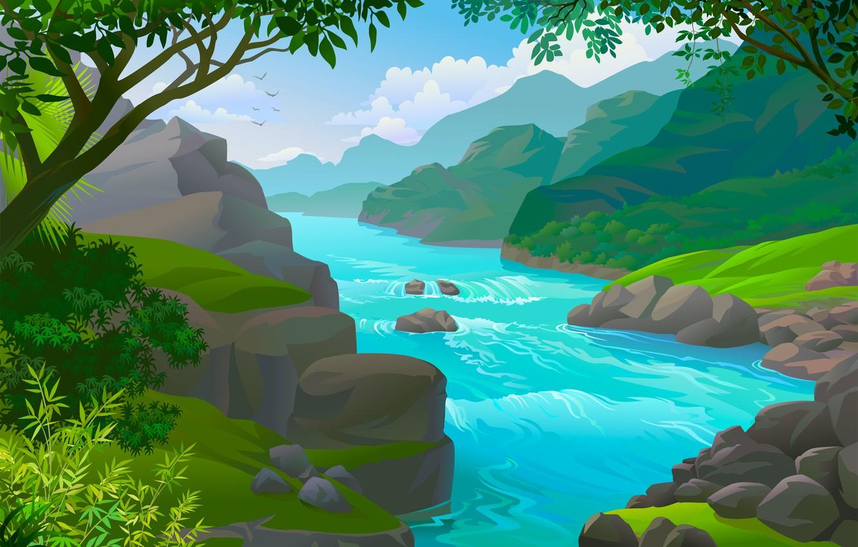 берег реки рисунок что