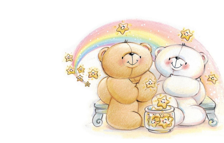 Фото обои ночь, радуга, звёзды, арт, мишка, пара, свидание, детская, Forever Friends Deckchair bear