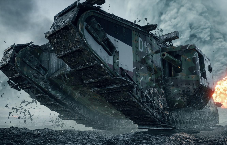 Фото обои война, игра, танк, британский, тяжелый, Electronic Arts, Battlefield 1, Mark I