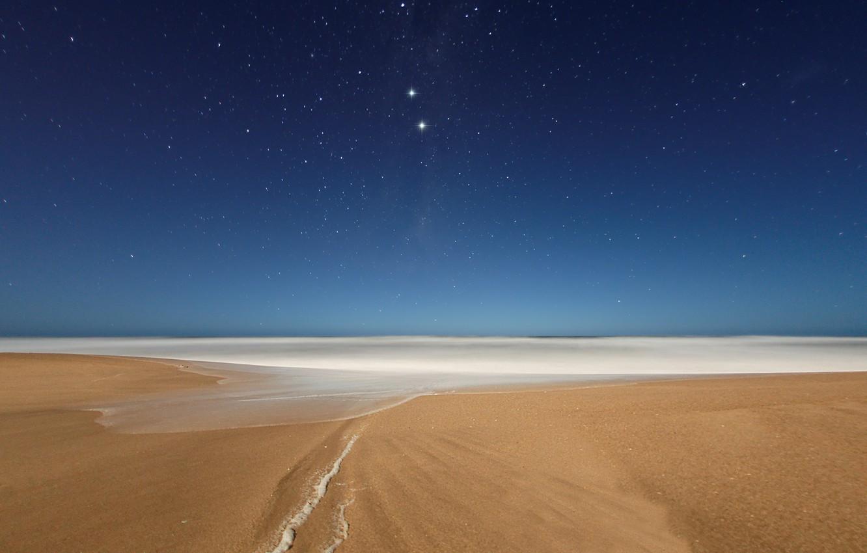 Фото обои пляж, небо, звезды, ночь, океан, вечер, созвездия