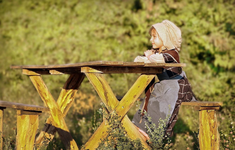 Фото обои природа, дети, стол, девочка, ребёнок, лавки