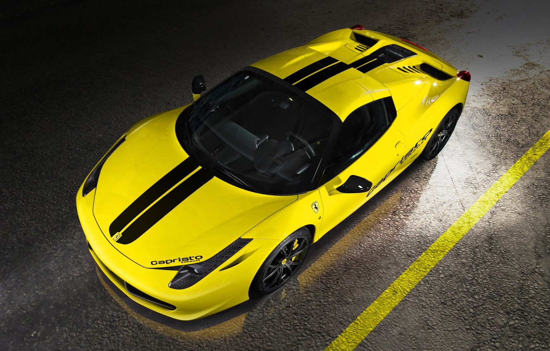 Фото обои Феррари, Италия, Ferrari, Перед, Yellow, Spider, 458 Italia, Capristo, Вид Сверху, Жёлтая