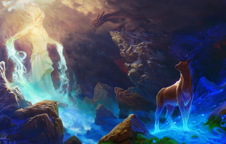 Фото обои камни, магия, дракон, дух, олень, пещера