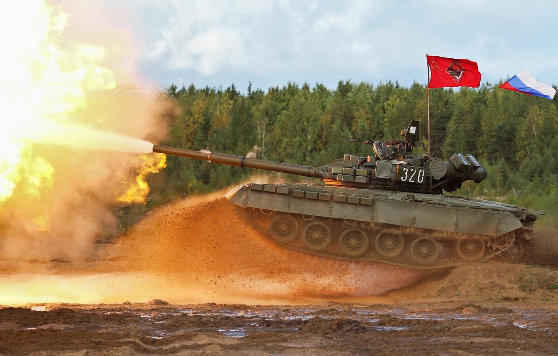 Фото обои выстрел, танк, Россия, военная техника, ОБТ, Т-80 БВ