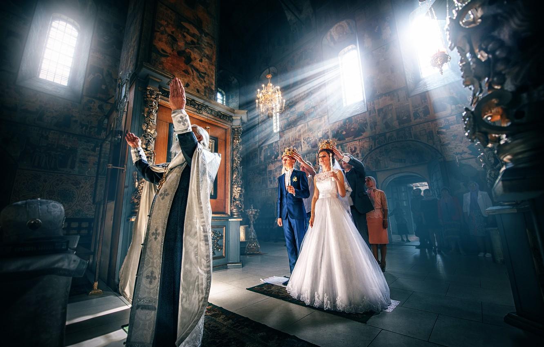 Фото обои храм, невеста, жених, венчание