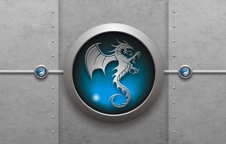 Фото обои знак, дракон, инь