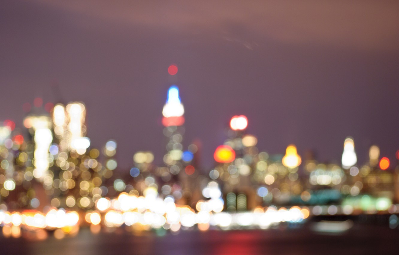 Фото обои ночь, огни, Нью-Йорк, боке, Эмпайр Стейт Билдинг