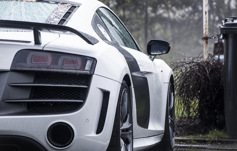 Фото обои дождь, Audi, ауди, серебро, silver, back. rain