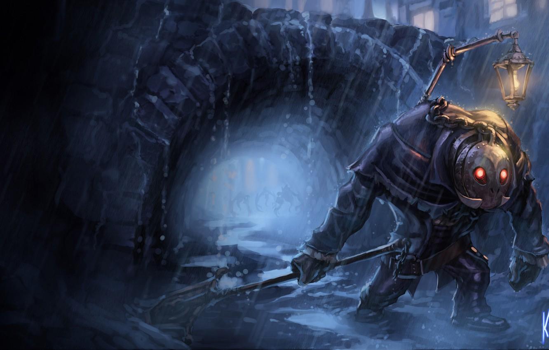 Фото обои ночь, дождь, маска, фонарь, лужи, League of Legends, Undertaker Yorick