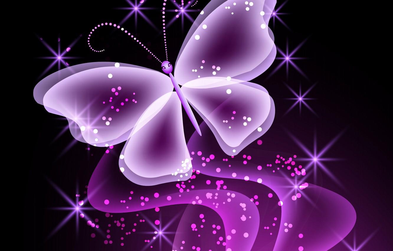 Обои sparkle, butterflies, Abstract, неоновые, Purple, glow. Абстракции foto 9