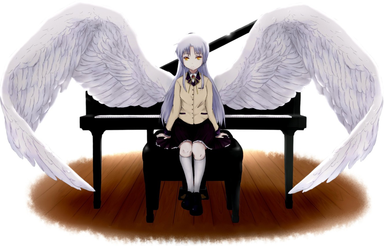 Фото обои крылья, пианино, angel beats!, ангельские ритмы