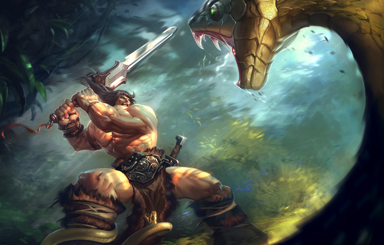 Фото обои змея, меч, джунгли, огромная, схватка, конан варвар, двуручный