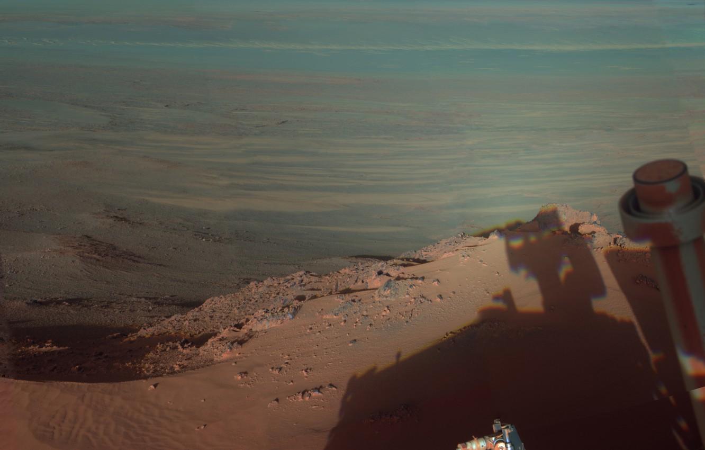 Фото обои кратер, Марс, NASA, Opportunity, Индевор, марсоход