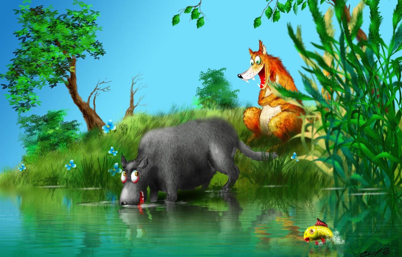 Фото обои лес, волк, лиса, скказка