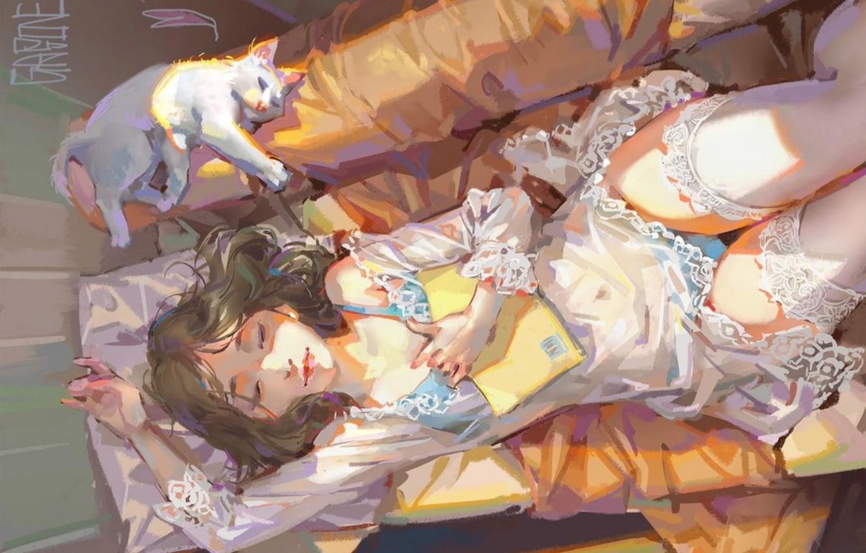 Фото обои девушка, диван, сон, пеньюар, подушка, книга, кружево, art, gasone, белые чулки, белая кошка