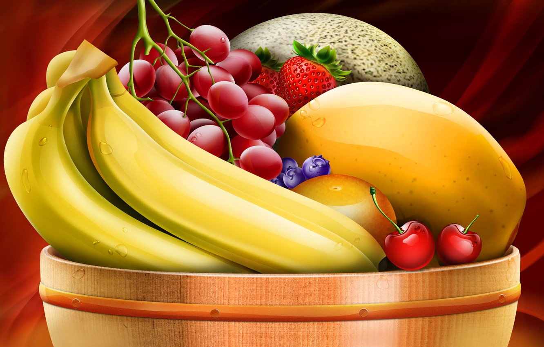 Фото обои виноград, бананы, миска с фруктами