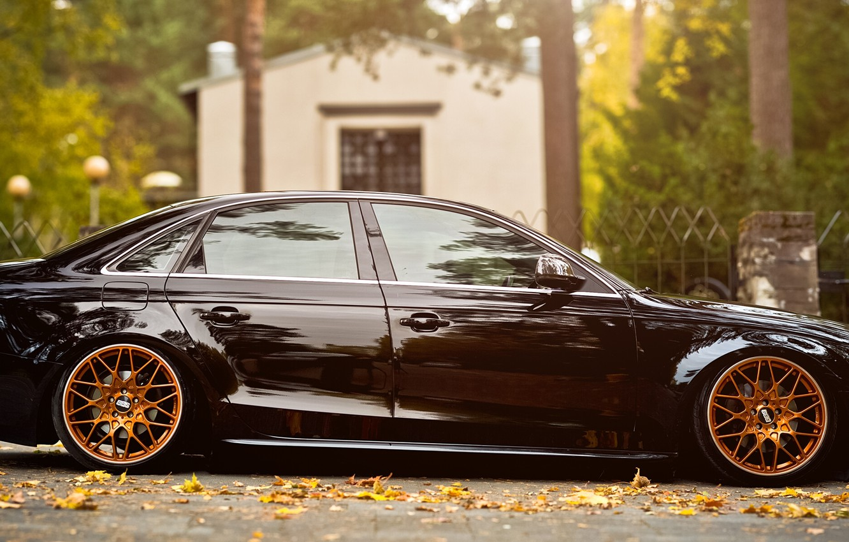 Фото обои осень, листья, Audi A4 B8