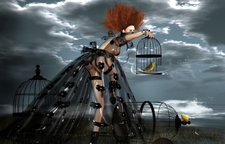 Фото обои девушка, птицы, рендеринг, клетка