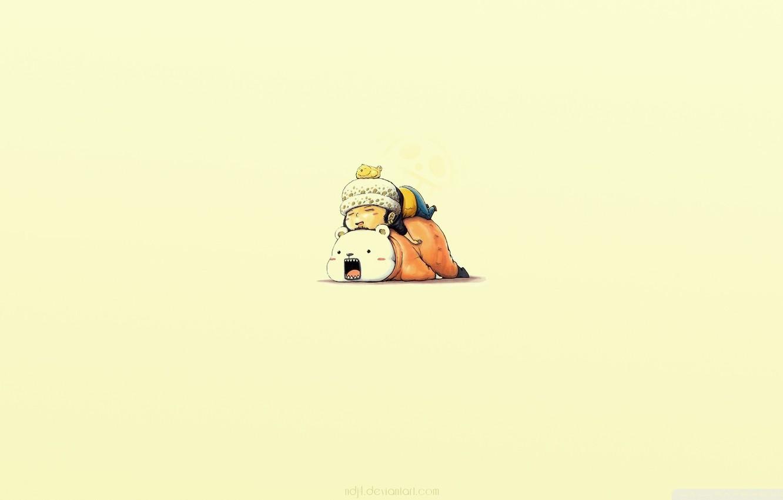 Фото обои сон, аниме, мальчик, друзья, миишка