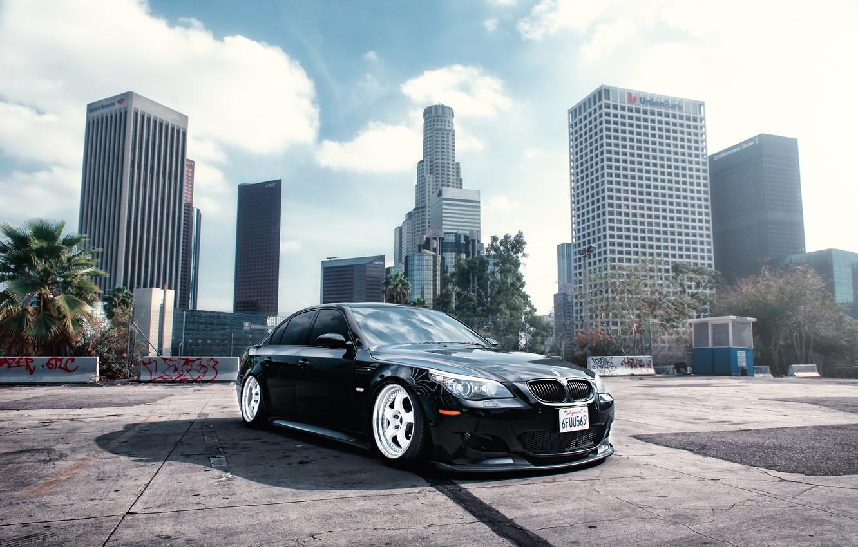 Фото обои BMW, wheels, black, front, E60