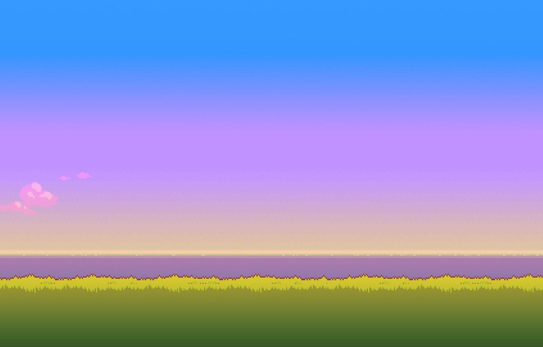 Фото обои небо, трава, солнце, время, утро, сутки, 8bit