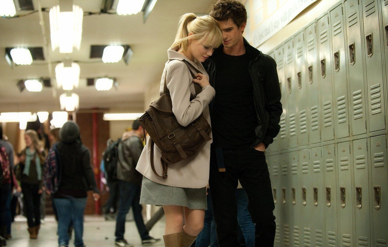 Фото обои Emma Stone, Andrew Garfield, Peter Parker, Gwen Stacy, The Amazing Spider-Man 2, Новый Человек-Паук 2