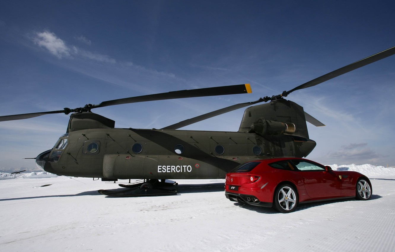 Фото обои snow, and, ferrari-ff, chinook