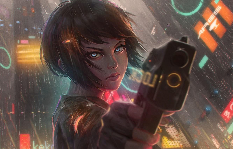 Фото обои девушка, город, пистолет, оружие, дождь, дома, аниме, арт, guweiz