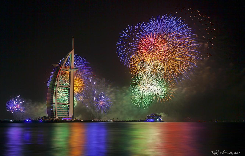 Фото обои ночь, огни, новый год, Дубаи, фейерверк, отель, ОАЭ, Burj Al Arab, Бурж аль-Араб