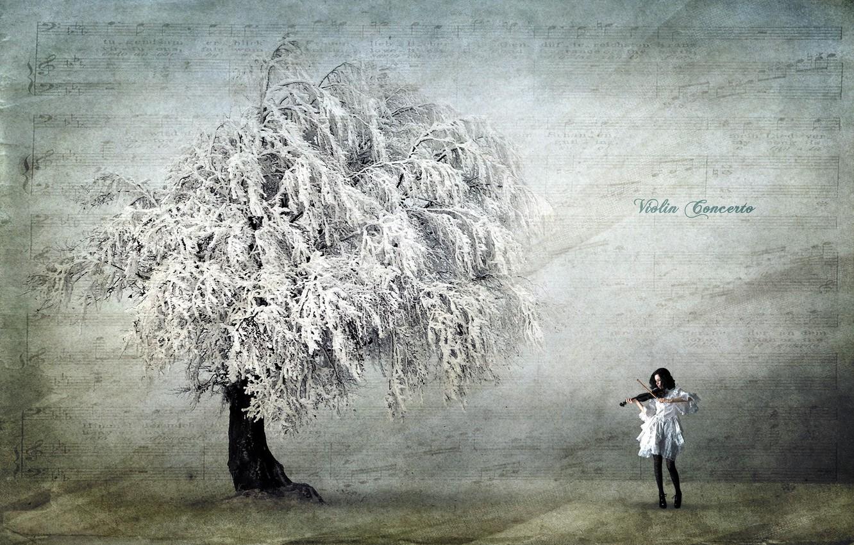 Фото обои девушка, стиль, фон, дерево, скрипка