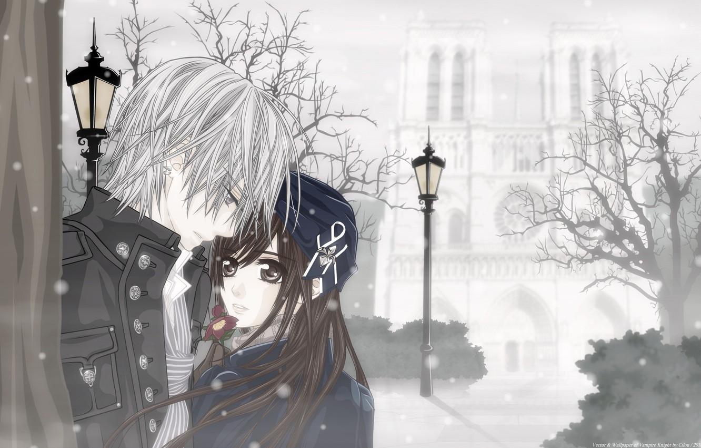 Фото обои зима, девушка, снег, цветы, аниме, вампир, парень, двое, свидание