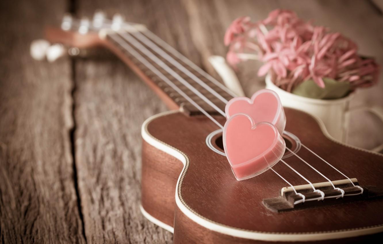 Фото обои цветы, сердце, гитара, love, vintage, heart, romantic