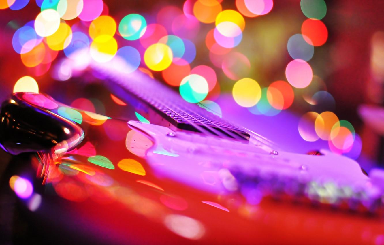 Фото обои гитара, струны, инструмент, блик, электрогитара, гриф
