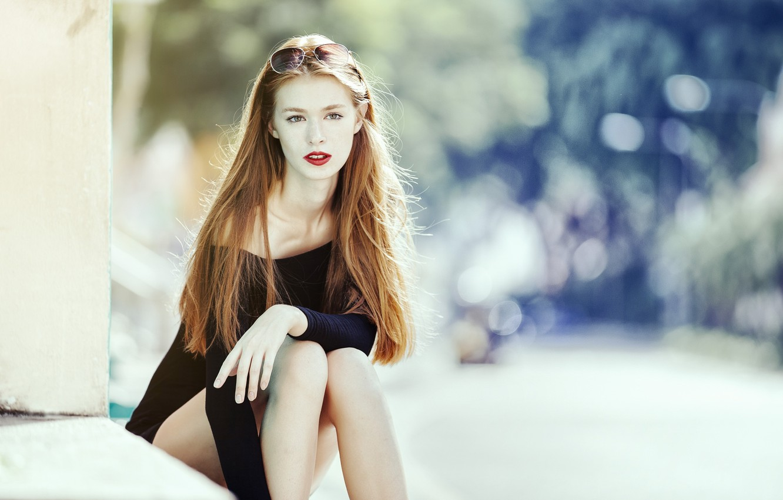 Фото обои Girl, Model, Glass, Black, Woman, View, Hair, Dress, Sitting, Kathia