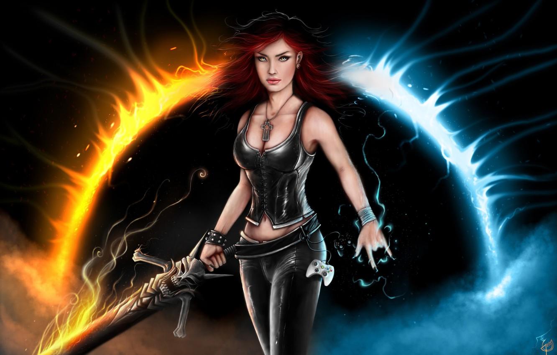 Фото обои пламя, магия, Девушка, меч, джойстик