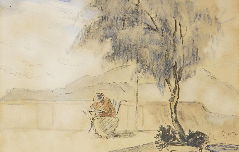 Фото обои пейзаж, горы, дерево, рисунок, акварель, Анри Лебаск, На террасе