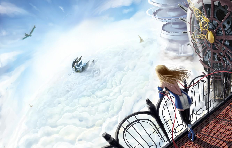 Фото обои волосы, корабль, блондинка, развивающиеся, Blazblue, над облаками, machine girl
