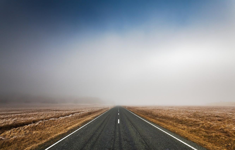 Фото обои дорога, поле, небо, асфальт, пейзаж, природа, трасса, утро, road, sky, field, landscape, nature, morning, 2560x1600, ...